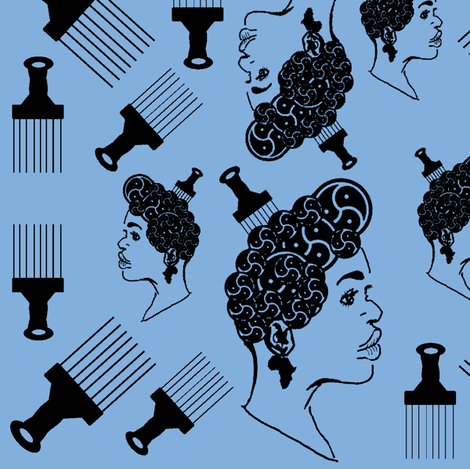 cameo with Afro pick fabric by nalo_hopkinson on Spoonflower - custom fabric