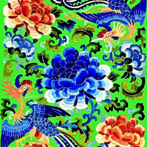 royal phoenix novelty thrones embroidery asian japanese china chinese oriental cheongsam kimono birds garden pheony flowers roses imperial chinoiserie kings queens museum traditional rank regal korean kabuki geisha yuan ming qing dynasty tapestry vintage