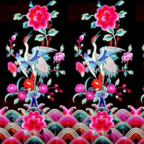 royal white novelty thrones embroidery asian japanese china chinese oriental cheongsam kimono storks cranes birds sea ocean imperial chinoiserie kings queens museum traditional rank regal korean kabuki geisha yuan ming qing dynasty tapestry vintage empero