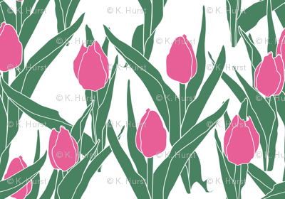 Stylized bright pink tulip bed on white