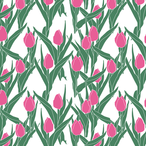 Stylized bright pink tulip bed on white fabric by bargello_stripes on Spoonflower - custom fabric