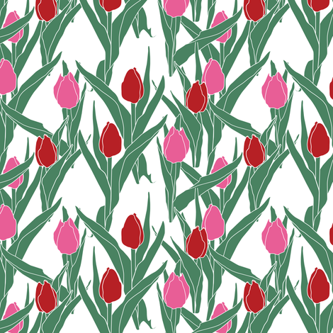 Stylized tulips in pink and scarlet fabric by bargello_stripes on Spoonflower - custom fabric