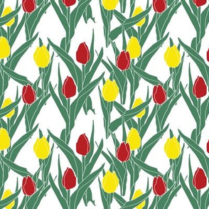 Stylized tulips -- in yellow and scarlet