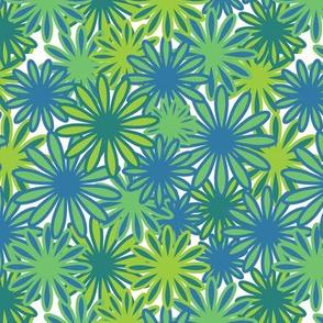 Hippie-Dippie daisies -- blue-greens