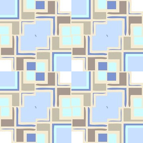 Icy Mondrianesque -- in cool blues. aqua, and shades of taupe