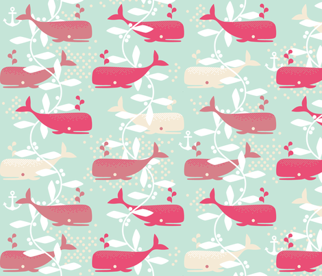 Whale Watching (pink) fabric by cerigwen on Spoonflower - custom fabric