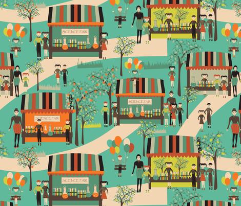 science fair on teal fabric by kociara on Spoonflower - custom fabric
