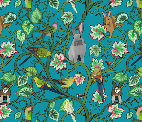rabbit mob scene fabric by mophead on Spoonflower - custom fabric