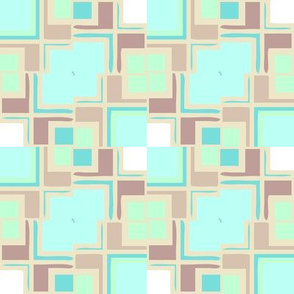 Pastel Mondrianesque -- aqua and tans dominating