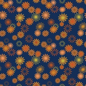 Cosmic Vibrations -- in rust, russet and mustard on Navy