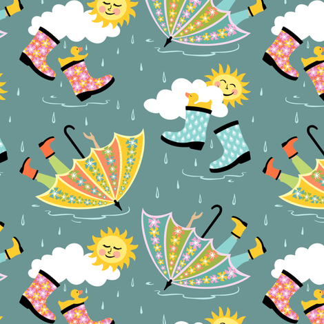 Puddle Jumpers: Blue-Gray fabric by sheri_mcculley on Spoonflower - custom fabric