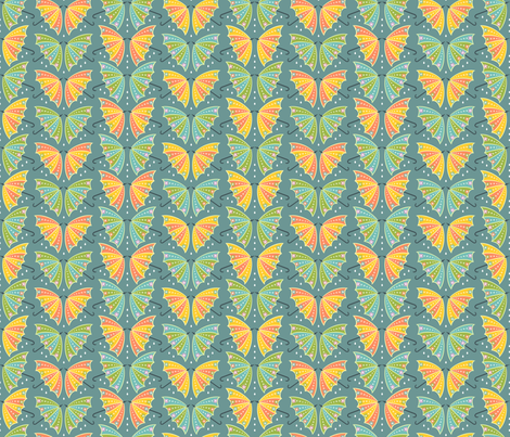 Umbrella Butterflies: Blue-Gray fabric by sheri_mcculley on Spoonflower - custom fabric