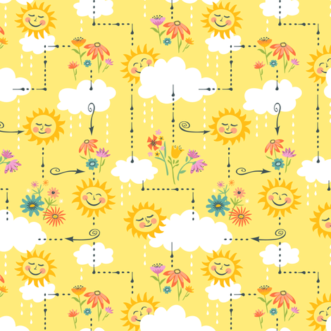 Rainy Days and Sun Days Maze: Yellow fabric by sheri_mcculley on Spoonflower - custom fabric