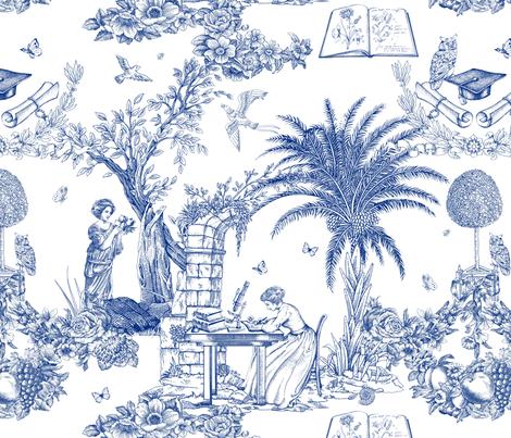 Eva Mameli Calvino - Botanist-blue fabric by chicca_besso on Spoonflower - custom fabric