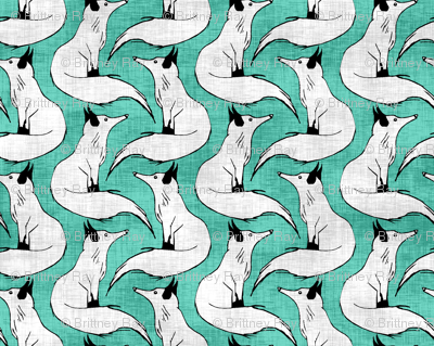 Linen Arctic Foxes on Teal