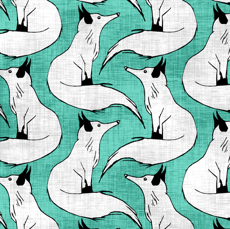 Linen Arctic Foxes on Teal fabric by pond_ripple on Spoonflower - custom fabric