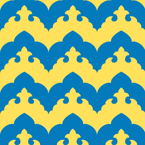 India Scalloped Chevron in Blue and Yellow fabric by ninniku on Spoonflower - custom fabric