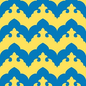 India Scalloped Chevron in Blue and Yellow