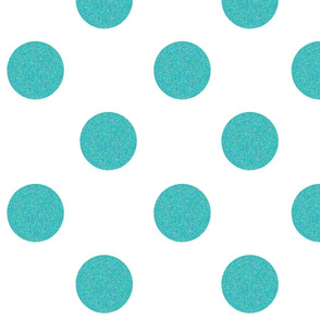 Big Aqua Glittery Polka Dots