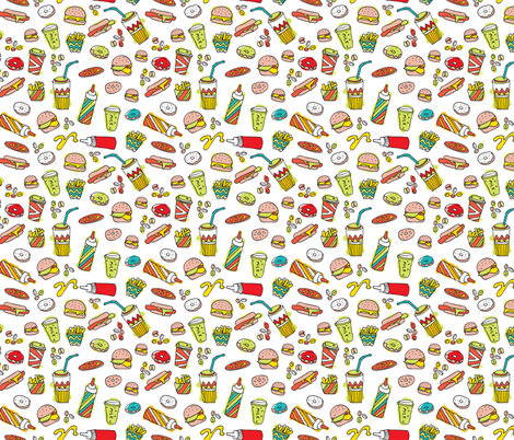 Fun hamburger milshake and fries after school snacks and fast food fabric by littlesmilemakers on Spoonflower - custom fabric