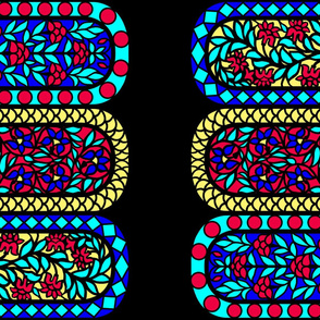 India Floral Stained Glass Windows Border Print