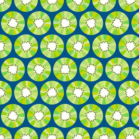 Kiwi Fruit - Navy fabric by siya on Spoonflower - custom fabric