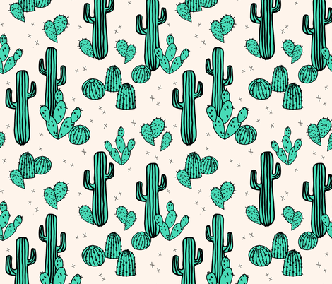 cactus // cacti green tropical summer palms prints plants outdoors southwest desert fabric by andrea_lauren on Spoonflower - custom fabric