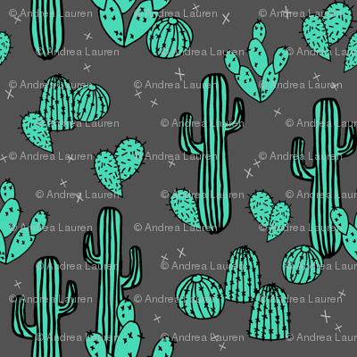 cactus // charcoal cactus cacti southwest desert