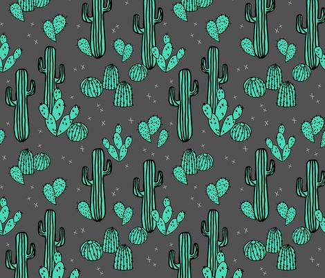 cactus // charcoal cactus cacti southwest desert  fabric by andrea_lauren on Spoonflower - custom fabric