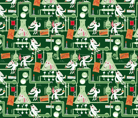White mice experiment fabric by verycherry on Spoonflower - custom fabric