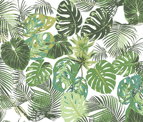 monstera and other tropical leaves fabric by katarina on Spoonflower - custom fabric