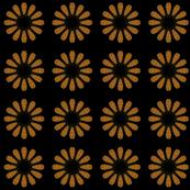 Floral Burst, Sepia on Black