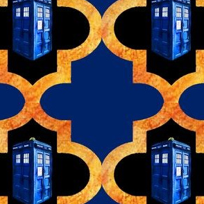 Blue Police Box Doors Orange Blue Quatrefoil