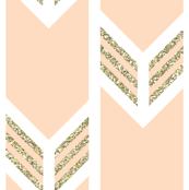 double chevron blush with gold sparkle v. II stripes