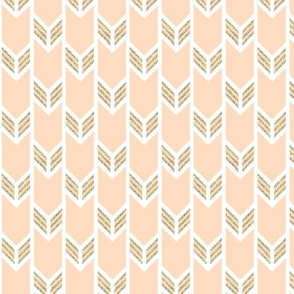 double chevron blush with gold sparkle v. II stripes
