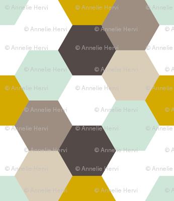 Mint Gold Hexagon