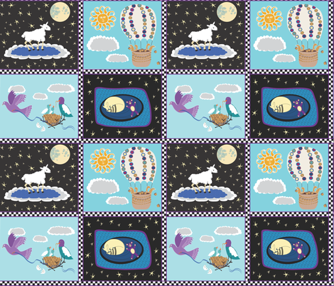 Sara's Baby Quilt - cheater squares fabric by vanillabeandesigns on Spoonflower - custom fabric