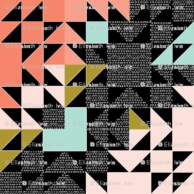 puzzle wholecloth // polka dot coral