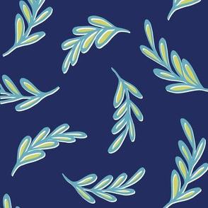 Floating Leaves indigo turquoise