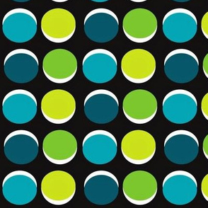 Blue & Green Polka Dots on Black