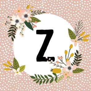 Blush Sprigs and Blooms Monogram Blanket // Z