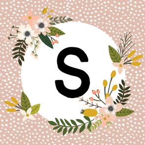 Blush Sprigs and Blooms Monogram Blanket // S