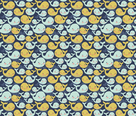 whales fabric by kristinnohe on Spoonflower - custom fabric