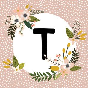 Blush Sprigs and Blooms Monogram Blanket // T
