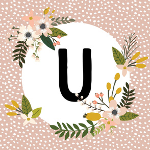 Blush Sprigs and Blooms Monogram Blanket // U