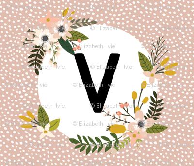 Blush Sprigs and Blooms Monogram Blanket // V