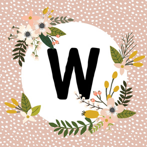 Blush Sprigs and Blooms Monogram Blanket // W