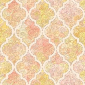 Pale peach Moroccan quatrefoil over icecream swirls by Su_G