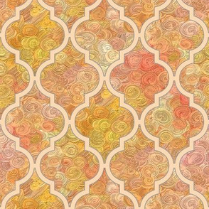 (NOW LARGER) Golden impasto harvest in a peach quatrefoil by Su_G