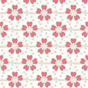 coral daisies and dots